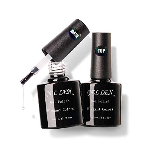 Gellen Gel Nail Polish Base Coat Top Coat Set, UV LED Soak Off No Wipe Glossy Top