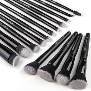 Zoreya Makeup Brushes 15Pcs Makeup Brush Set Premium Synthetic Kabuki Brush