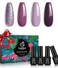 Beetles 4 Colors Purple Glitter Gel Nail Polish Set - Lilac Mauve Gel Polish Kit