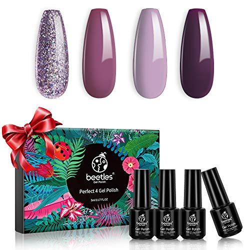 Beetles 4 Colors Purple Glitter Gel Nail Polish Set - Lilac Mauve Gel Polish Kit