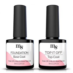 MelodySusie Gel Nail Polish No Wipe Top Coat and Base Coat Set
