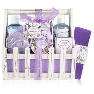 Bath Spa Basket Gift Set, 8 Pcs Home Relaxation Set with Lavender & Jasmine Scent