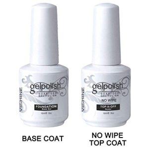 Vishine 15ml No Wipe Top Coat Base Coat Gel Nail Polish Soak Off UV LED