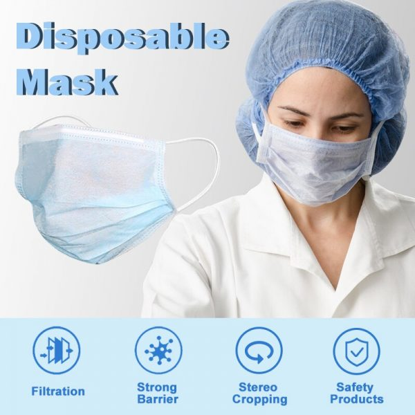 50/100pcs Adult Masks White Disposable Face Mask 3 Layer Mouth Face Mask Prevent Anti-Dust ear loop Mask In Stock Fast shipping
