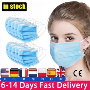 50PCS Surgical Mask Disposable Medical Mask antibacterial antivirus masks Anti-Dust Anti Fog Haze Face Mouth 3-layer Blue Mask