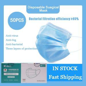 50PCS Face Mask Anti-dust Safe Breathable Mouth Mask Dental Disposable Kids Adult Ear loop Face Surgical medical Masks