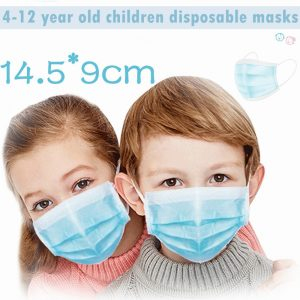 4-12 year Disposable children Medical PM2.5 mask Elastic Mouth Soft Breathable Blue Soft Breathable Kids Face surgical Mask
