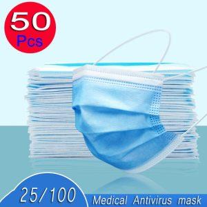 100pcs reusable mouth surgical mask antivirus antibacterial prevent Anti virus bad Bacteria proof face antibacterial masks 50pcs