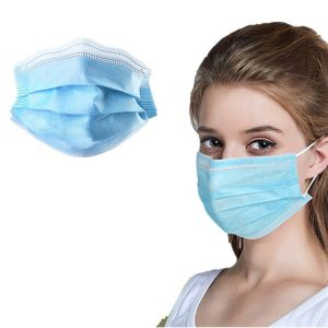 100pcs Blue Prevent Bacteria Mouth face Mask Disposable Non-Woven Three-layer Filter Unisex Anti-dust Mouth Nose Proof Masks