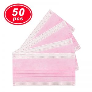 50PCS YIGANERJING US medical mask Non Woven Disposable Face Mask pink mask 3 Layers Earloop Masks Bacteria Proof Face Mouth Mask