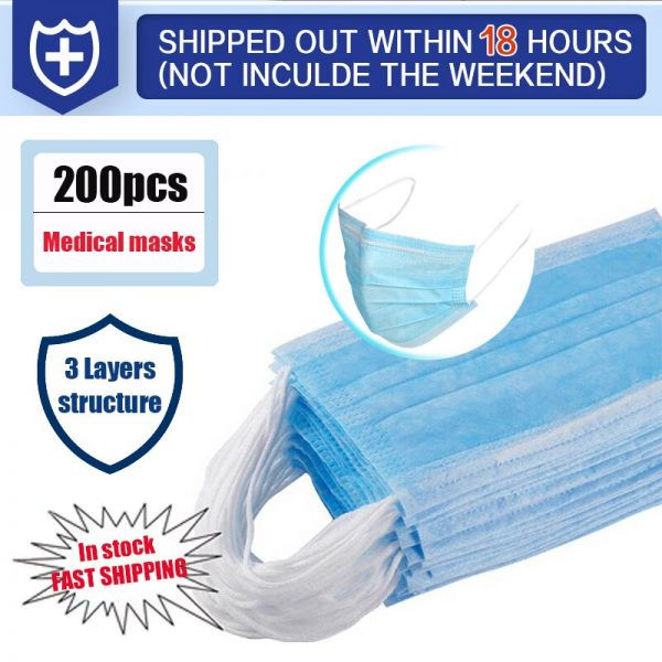 200Pcs Medical Mask Disposable Dustproof Face Mouth Masks Anti 3-Ply PM2.5 Anti Influenza Breathing Safety Masks Anti-viral
