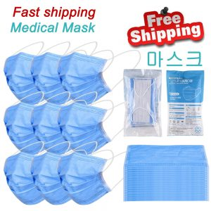 100PCS Instock Hot sale Disposable anti surgical mask blue PM2.5 Disposable Elastic Mouth Soft Breathable Face Medical Masks