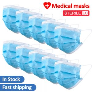 200 PCS Medical Face Mask Surgical Medical Blue Protective Disposable Mouth Masks 3 Layer Masks Gaz Maskesi