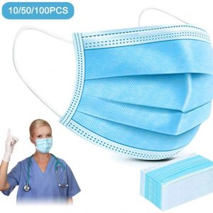 50 PCS Disposable Masks Mask Dust Breathable Earloop Face Mask Comfortable Sanitary Mask Thick 3-Layer Masks 24 hours delivery