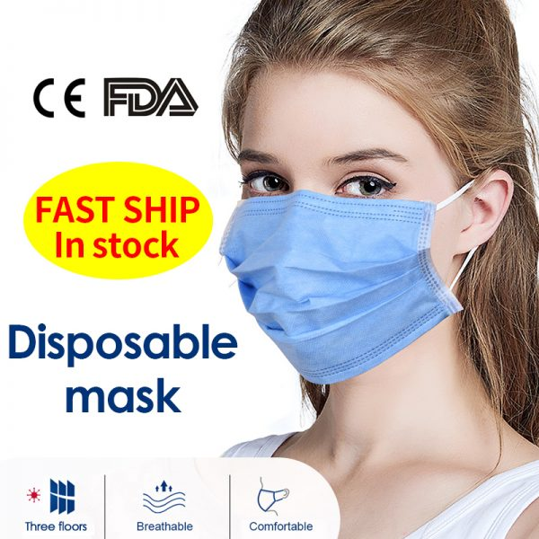 Fast Delivery Disposable Face Medical Surgical Masks 3-Plyer Nonwoven 10/30PCS Elastic Earloop Soft Mouth Mask CE Hygiene Face
