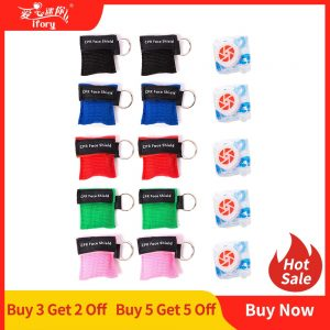 Ifory 5pcs/lot CPR Resuscitator Mask Keychain Emergency Face Shield First Aid CPR Mask for Outdoor Survival First Aid Wholesale