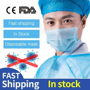200pcs Medical Masks Bacteria Proof Surgical Masks 3 Layer Filter Disposable Masks Anti-dust ce certificate FDA Mouth Face Masks