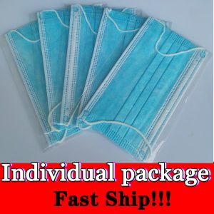 Disposable Medical Mask 3 Layer Anti-Dust Protection Masks Disposable Face Masks Earloops Surgical Mask with Individual Package