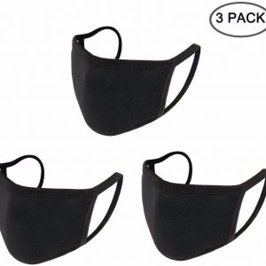 3PCS Anti Dust Mouth Mask Cotton Mouth Mask Unisex Black Face Mask Reusable Mask 3D Fashion Face Mask Washable Mask for Cycling