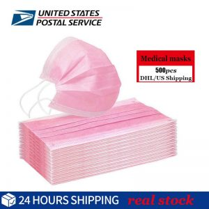 DHL EMS 500pcs Pink Non Woven Face Mask Medical Masks 3 Layers Earloop Masks Bacteria Proof Face Mouth Mask