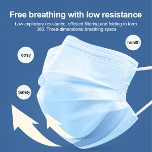 Disposable Mask 100Pcs 3-Ply Protective Mask Anti-Dust Anti-pollution Safety Mask Nonwoven Elastic Face Mask Earloop Mouth Masks