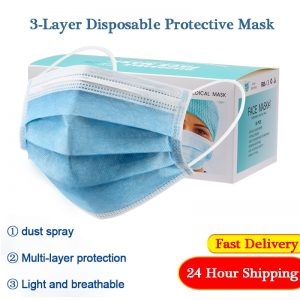 50pcs Disposable Face Mask Medical Surgical Mask 3-layer Non-woven Dust Mask Mouth Mask Filter 24 Hours Shipping Wholesale