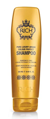 RICH Pure Luxury Argan Color Protect Shampoo for All Hair Types - Protects Hair Color & Adds Shine - UV & Heat Protective - Sulfate, Paraben & Mineral Oil Free, 8.45 FL OZ
