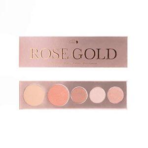 100% PURE Rose Gold Palette (Fruit Pigmented), Shimmer Makeup Palette w/ 3 Eyeshadows, Blush, Face Highlighter, Natural, Vegan Makeup (Rose Gold Metallics)