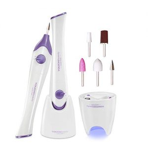 TOUCHBeauty Nail File Electric 5in1 Manicure/Pedicure Set with Mini UV Light Dryer,Professional Acrylic Nail Tools Nail Drill Buffer Shine Fingernails Toenails Care Device with 5 Tips Purple TB-1335