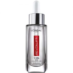 Hyaluronic Acid Serum for Skin, L'Oreal Paris Skincare Revitalift Derm Intensives 1.5% Pure Hyaluronic Acid Face Serum, Hydrates, Moisturizes, Plumps Skin, Reduces Wrinkles, Anti Aging Serum, 1 Oz