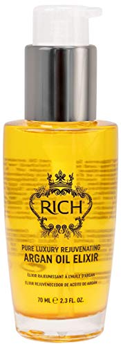 RICH Pure Luxury Rejuvenating Argan Oil Elixir for All Hair Types - Moisturizing & Smoothing - Protects Hair From Styling & Coloring Damages, 2.3 FL OZ
