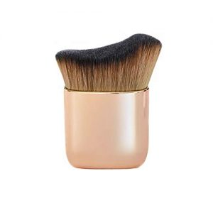 Curved Powder Foundation Brush Kabuki Makeup Brush for Face Large Coverage Mineral Powder Bronzer Contouring Buffing Blending Liquid Foundation Angled Blush Brush (Pink gold)