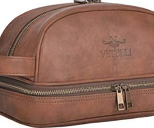 Vetelli Leather Toiletry Bag For Men. Our Dopp Kit comes with 2 Silicone Travel Bottles and is a perfect gift and travel accessory for men