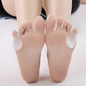 Pack of 4 Small Pinkie Toe Tailors Bunion Pain Relief Pads With Premium Gel Cushions with Toe Separator Foot Orthotics Help and Protective Gel Bunion Protectors Straighters Spreaders Correctors for L