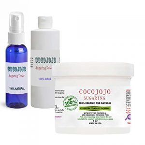 COCOJOJO Sugaring Hair Removal 8 oz Standard Firm Sugaring Paste Set with Calming Spray Toner and Powder for Body, Legs, Brazilian, Face - Sugaring Kit for Women and Men