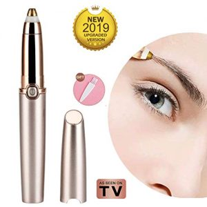 Eyebrow hair Trimmer Epilator for Women, Tishare New Design Eye brow Remover Painless Facial Brows Hair Removal with LED Light (Rose Gold)