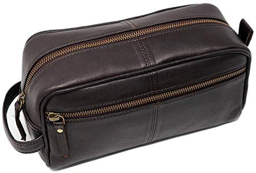 Leather toiletry bag dopp kit for men shaving pouch makeup purse travel organizer gift for men & women