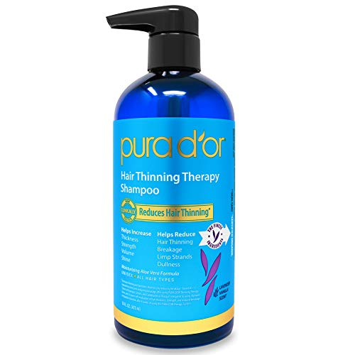 PURA D'OR Hair Thinning Therapy BIOTIN Shampoo for Prevention, Vanilla Lavender Scent w/ Argan Oil & Natural Ingredients, Sulfate Free, All Hair Types, Men and Women, 16 Fl Oz (Packaging may vary)