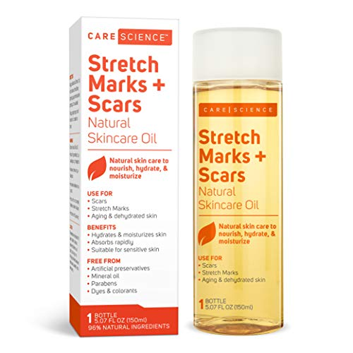 Care Science Stretch Mark + Scar Remover Oil, 150 ml | Pregnancy Belly Scar Removal Formulated For Soon To Be Moms | Natural Ingredients. Vitamin E Oil, Avocado Oil, Olive Oil, Coconut Oil, More