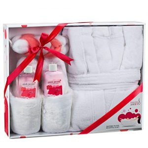 Luxury Bathrobe and Slipper Spa Gift Box for Women with Body Lotion and Shower Gel, Lather Show Puff, Ultra Soft Full Length Bathrobe, Plush Slippers, in Pink Peony Fragrance Bath and Body Gift Basket