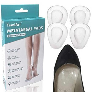 Temiart Gel Foot Pads - 4 PC - Metatarsal Pads Ball of Foot Cushions - Soft Gel Ball of Foot Pads - Mortons Neuroma Callus Metatarsal Foot Pain Relief Bunion Forefoot