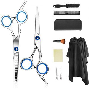Professional Hair Cutting Scissors Set 9 PCS Hair Cutting Scissors, Thinning Shears, Hair Razor Comb, Clips, Cape, Hairdressing Scissors Kit,Barber set,Hair Cutting Shears Set