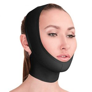 Post Surgical Chin Strap Bandage for Women - Neck and Chin Compression Garment Wrap - Face Slimmer, Jowl Tightening, Chin Lifting Medical Anti Aging Mask (Black, L)
