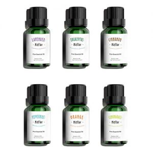 Essential Oils Set, MitFlor 100% Pure USA Organic Essential Therapeutic Grade Aromatherapy Oils Gift Kit, 6x10ml(Lavender Eucalyptus Peppermint Cinnamon Orange Lemongrass)