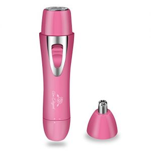 AmElegant Premium Facial Hair Removal for Women - Painless Nose Hair Trimmer - Waterproof Rechargeable Portable Hair Remover for Ear Hair, Peach Fuzz, Chin, Upper Lip, Mustaches, Legs, Bikini (Pink)