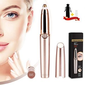 Eyebrow Hair Remover, Sikii Eye Brow Trimmer Epilator Painless Facial Brows Face Razor for Face Lips Nose Facial Hair Removal with LED Light for Women (Rose Gold)