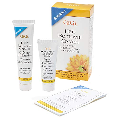 GiGi Hair Removal Cream for Face with Slow Grow Soothing Cream, 2-step Hair Removal System for Sensitive skin