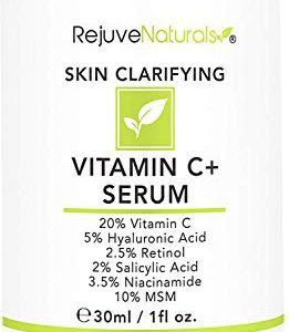 Vitamin C Serum Plus 5% Hyaluronic Acid, 2.5% Retinol, 2% Salicylic Acid, 3.5% Niacinamide, 10% MSM, 20% Vitamin C - Anti Aging Anti Wrinkle Skin Clearing Serum Organic Skin Care for Face and Eyes 1oz