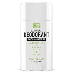 M3 Naturals All Natural Deodorant with Magnesium, Green Tea and Aloe - Long-Lasting, Non-Toxic, Free of Aluminum, Baking Soda, Parabens, Sulfates and Gluten – For Men and Women - Vegan, Organic 2.5 oz