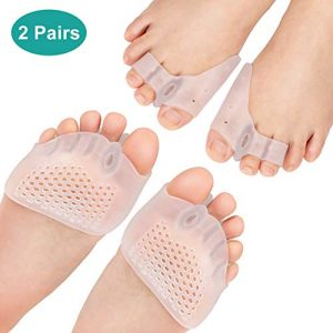 2 Pairs Gel Toe Separators Metatarsal Pads Kit, Toe Stretcher Bunion Spacer for Orthotic Overlapping Toes, Hammer Toes, Bunion Pain Relief for Barefoot, Wear in Socks or Shoes Reduce Foot Pressure